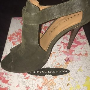 Olive colored Chinese laundry size 8 high heels